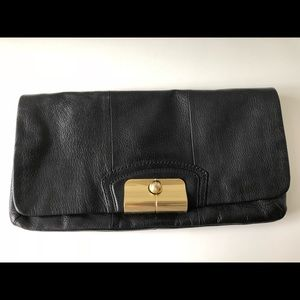 Coach Black Leather Clutch - 100% Authentic